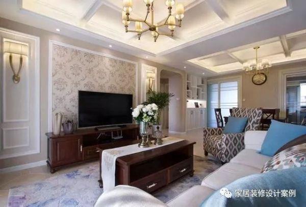 简洁明亮的美式风格新房装修案例,花3万做吊顶很大气