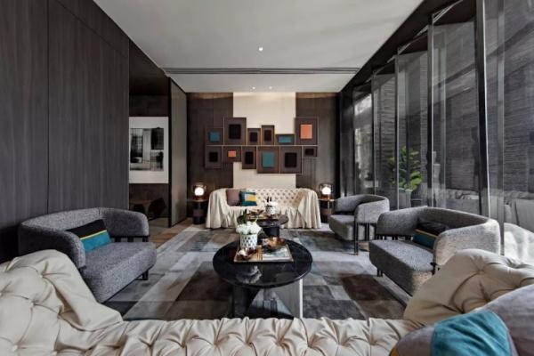灰色的高级别墅装修,用灯饰打造华丽气氛