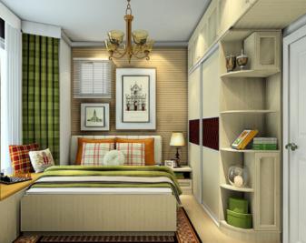 本方案的卧室采用欧式英伦风格设计,进门左侧是用带圆弧柜的趟门衣柜