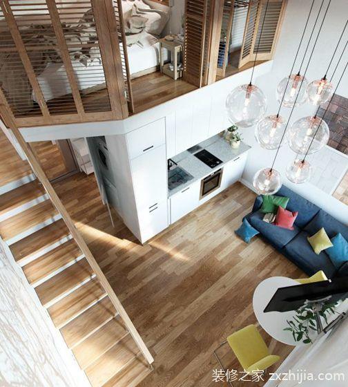 40平时尚loft风格装修效果图 很有小别墅的感觉