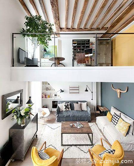 93平混搭风格loft装修 用色彩打造完美家