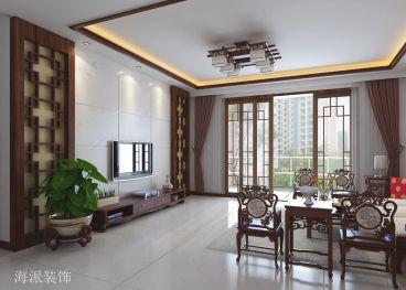 梧桐苑咖啡色中式客厅装修