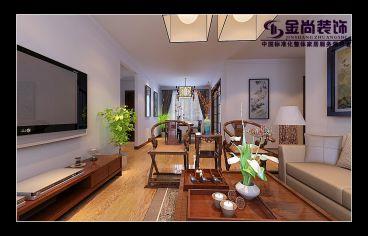 世茂天城白色新中式客厅装潢
