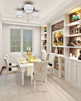 歐式風情78平白色餐廳裝修