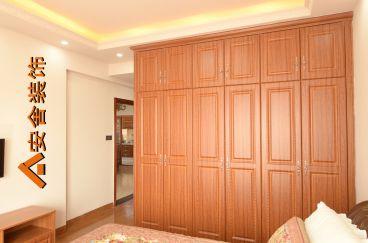 咖啡色新中式158平卧室实景图