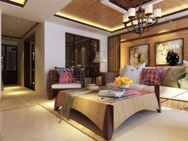 安宁昆华苑的东南亚风格的卧室效果图