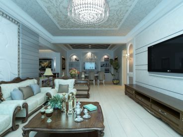 滇池泊屋欧式风格三居室装修案例