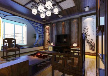 银滩花园中式120平三居室全包装潢