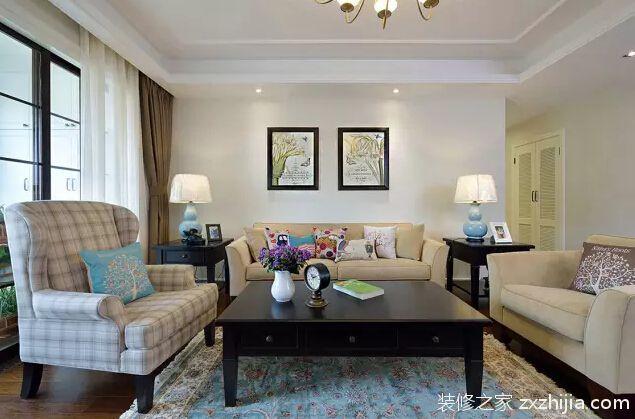 君域豪庭美式风格全包120平住宅装修