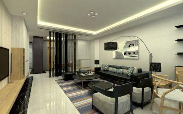 高层次小区简约风格半包140平装修