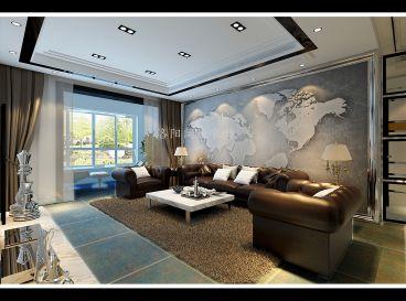 正大国际现代简约客厅效果图
