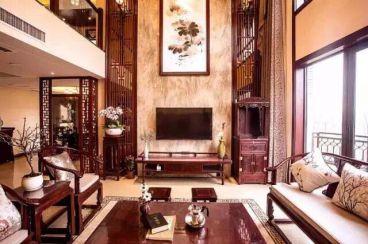 中式 悦明园小区新中式风格复式住宅装修