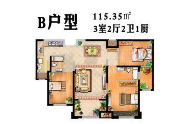 绿地中央广场简约风格半包115平住宅装修