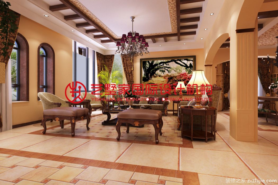 卧龙园460平三室二厅恬淡田园装修效果图