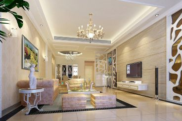 东风广场132平三室二厅美式装修效果图