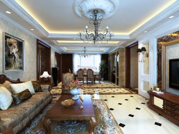 欧式150平三室二厅欧式古典装修效果图