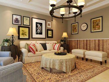 中海华山珑城美式客厅效果图