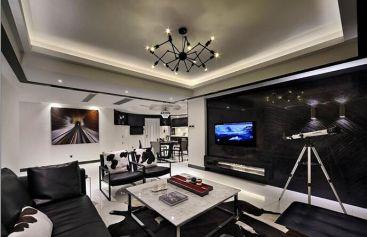 招商小石城现代简约客厅吊顶效果图