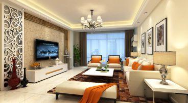 未来城新中式三室一厅装修效果图