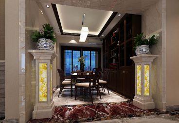 中州中央公园现代简约餐厅效果图