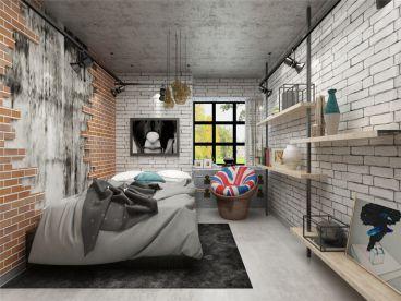 万科东海岸工业风卧室效果图