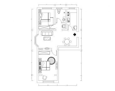 朝阳北部湾美式卧室效户型图