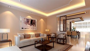 海坡度新中式三室二厅装修效果图