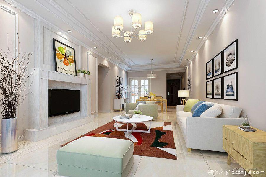 中德英伦联邦A区93平三室二厅装修效果图