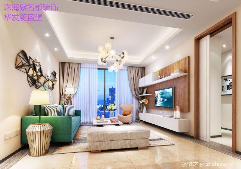 华发蔚蓝堡三室二厅现代简约装修效果图