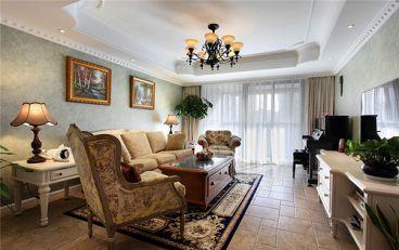 红棉苑南区三室二厅恬淡田园装修效果图