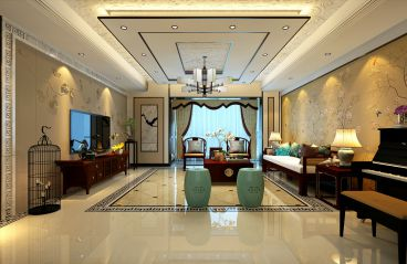 香海园三室三厅中式装修效果图