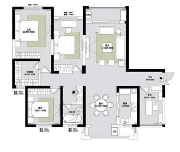 名城家园三室二厅全包装修效果图