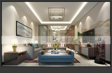 御峰臻品二室二厅新中式装修效果图