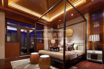 黎香湖别墅新中式卧室效果图