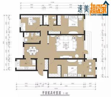 美每家美华星都89平二室二厅装修效果图
