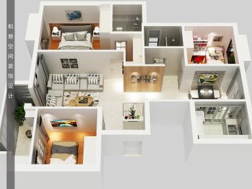 银河湾小区三室二厅115平半包装修效果图