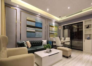 金地自在城现代简约客厅效果图