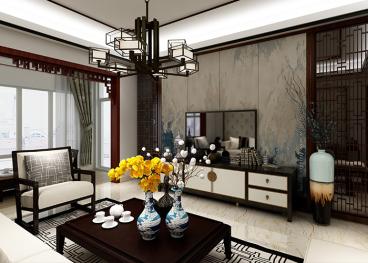 山水洲城三室二厅中式装修效果图