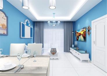 海益国际纽约公寓二室一厅57平装修效果图