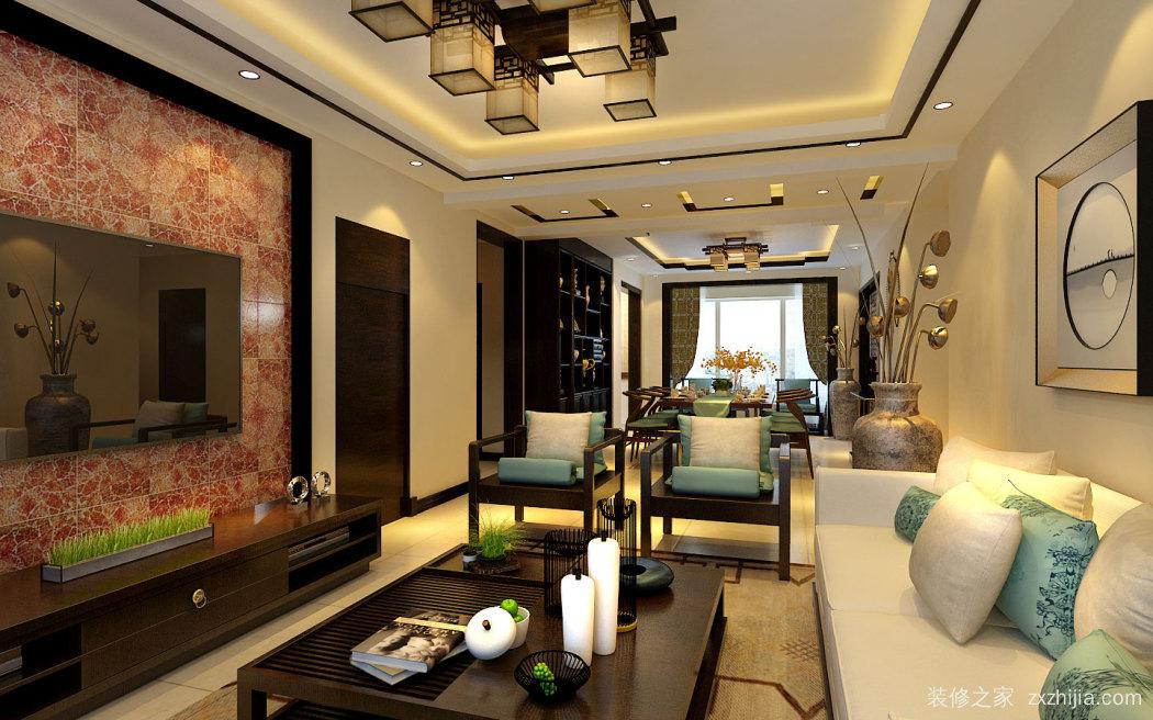 华茂央府新中式三室二厅装修效果图