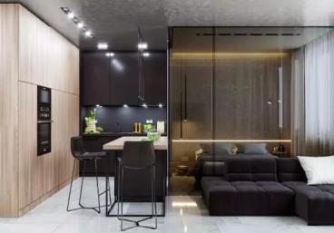 单身公寓现代简约43平装修效果图