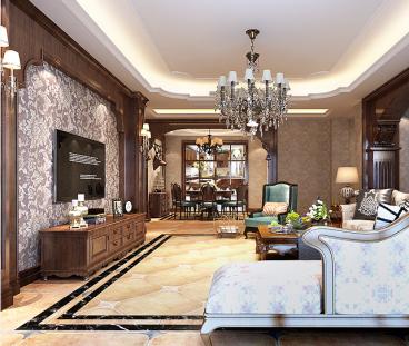 新天地美式美式三室二厅装修效果图