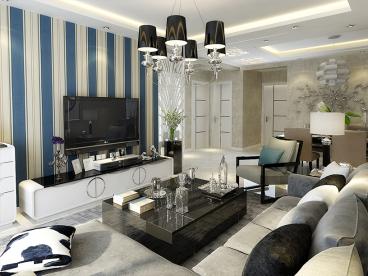 万恒领域现代简约三室一厅装修效果图