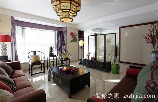 紫御熙庭中式三室二厅装修效果图
