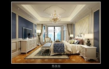 长泰国际别墅时尚混搭卧室效果图