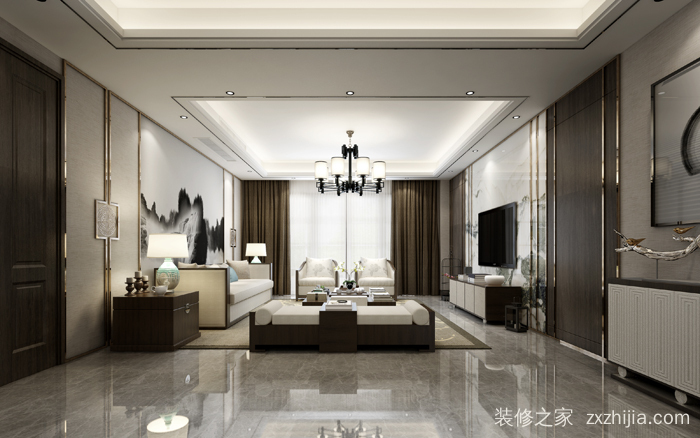 蓝光天悦城三室二厅新中式装修效果图