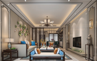 湖城大镜新中式客厅效果图