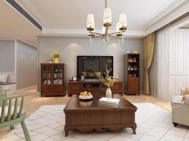 港湾家园美式客厅效果图