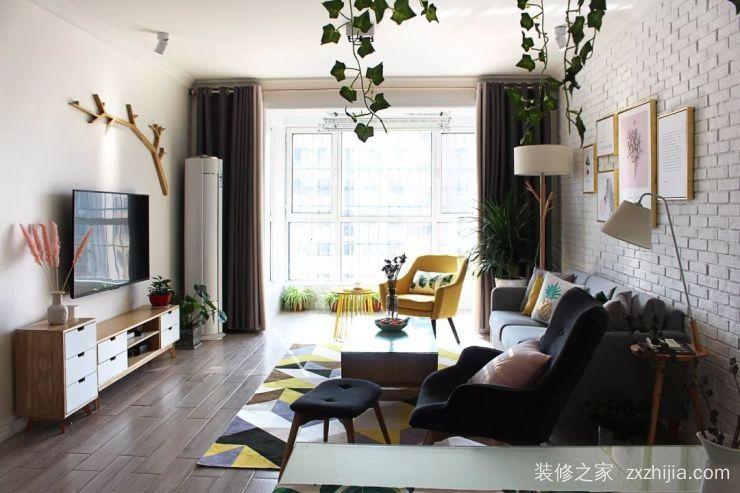 经纬城市绿洲110平三室一厅装修效果图