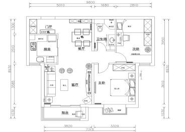 北京新天地时尚混搭二室二厅装修效果图
